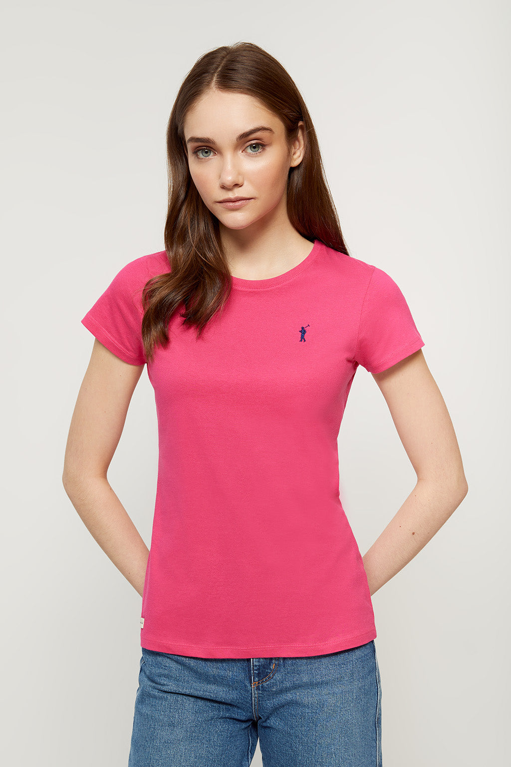Fuchsia T-shirt with embroidered logo