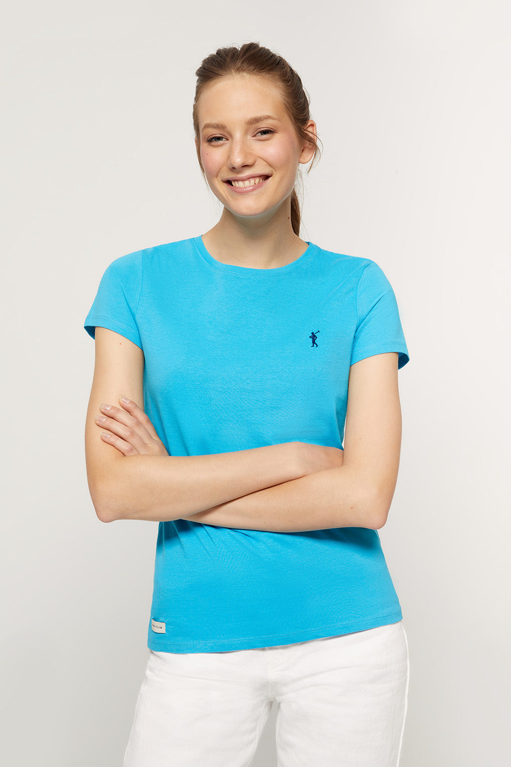 Turquoise T-shirt with embroidered logo
