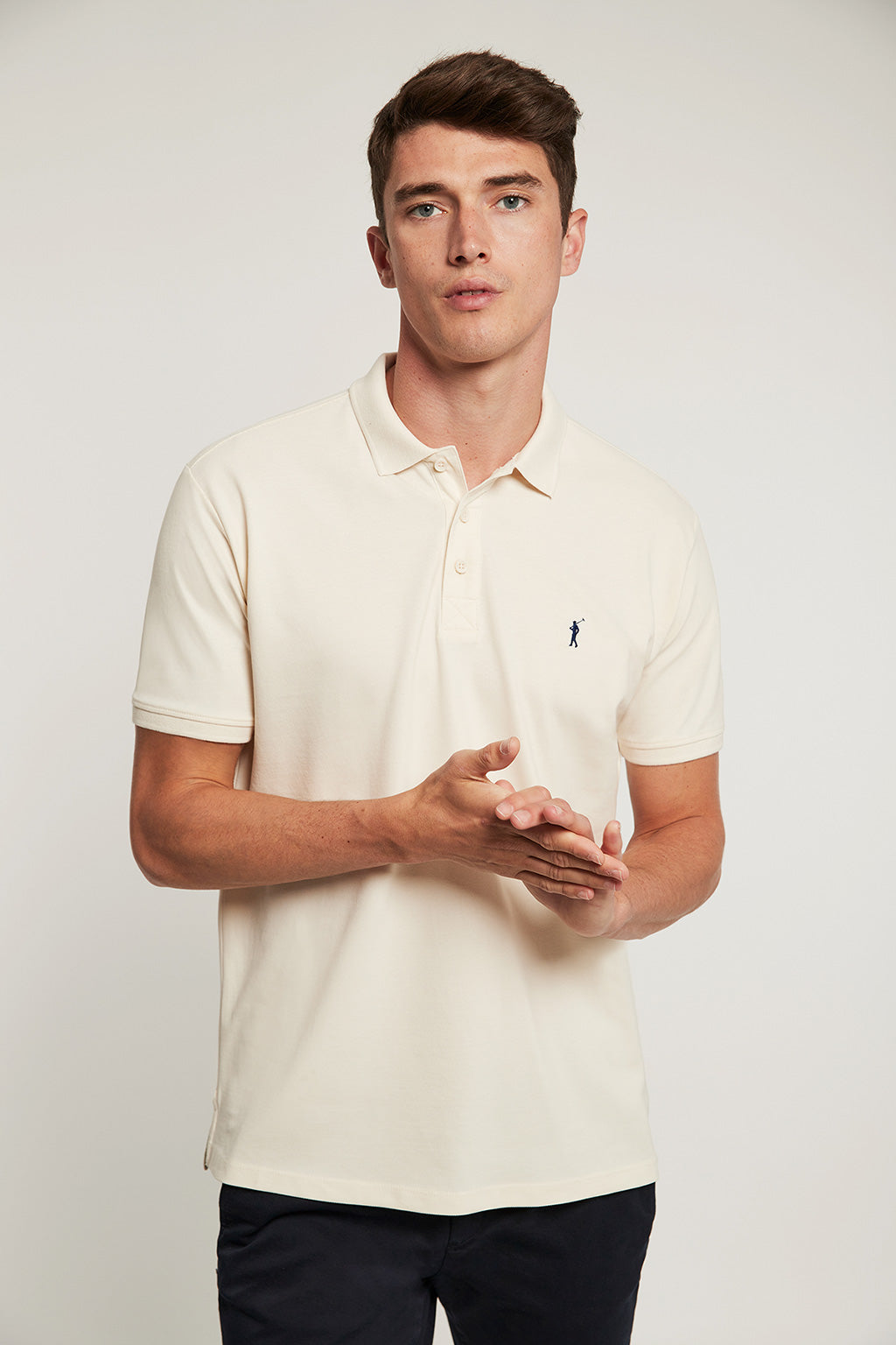 Sand organic polo shirt with embroidered logo