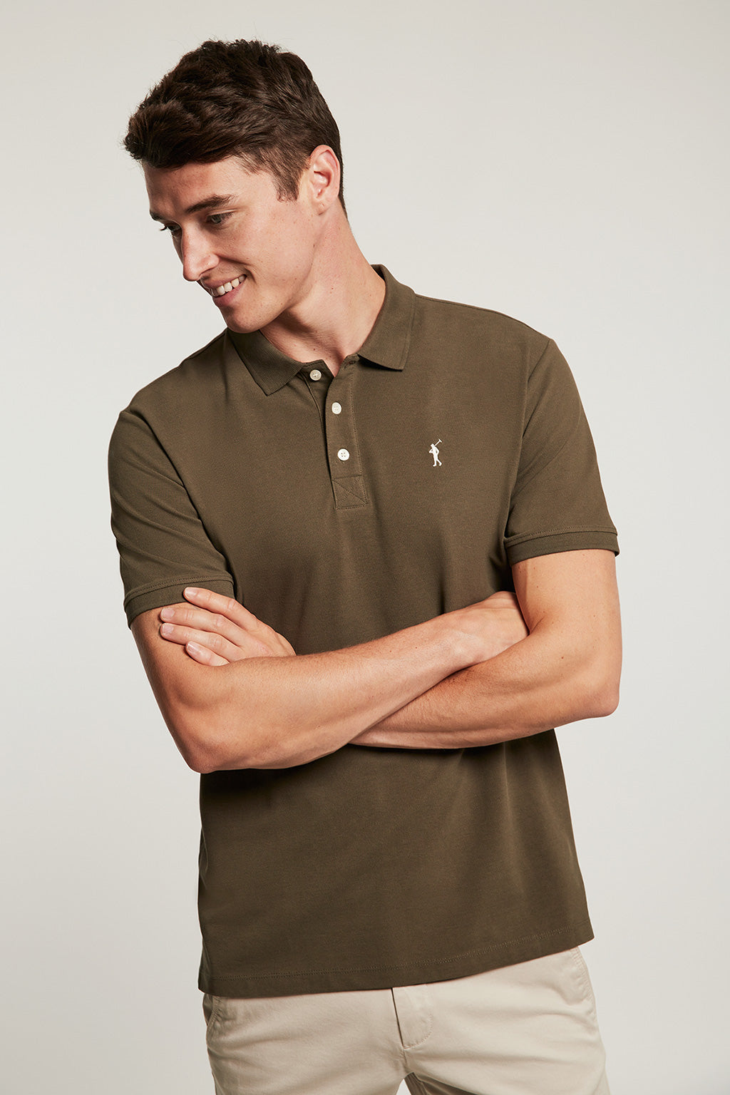 Khaki organic polo shirt with embroidered logo