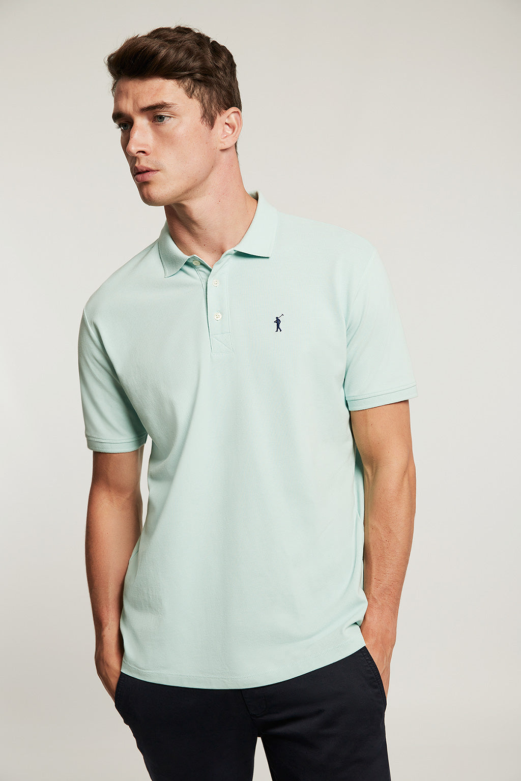 Aquamarine organic polo shirt with embroidered logo