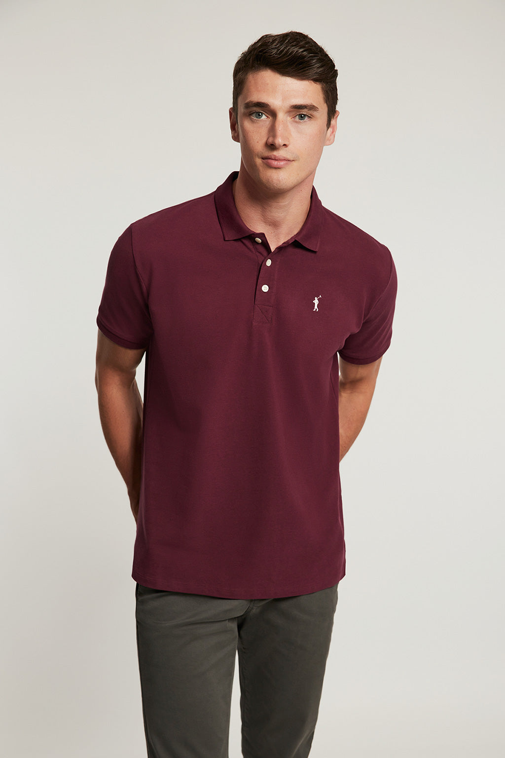 Burgundy organic polo shirt with embroidered logo
