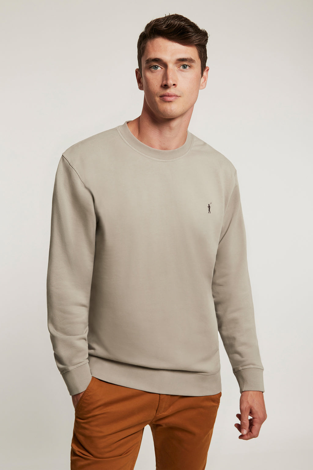 Grey vigore organic sweatshirt with contrast embroidery