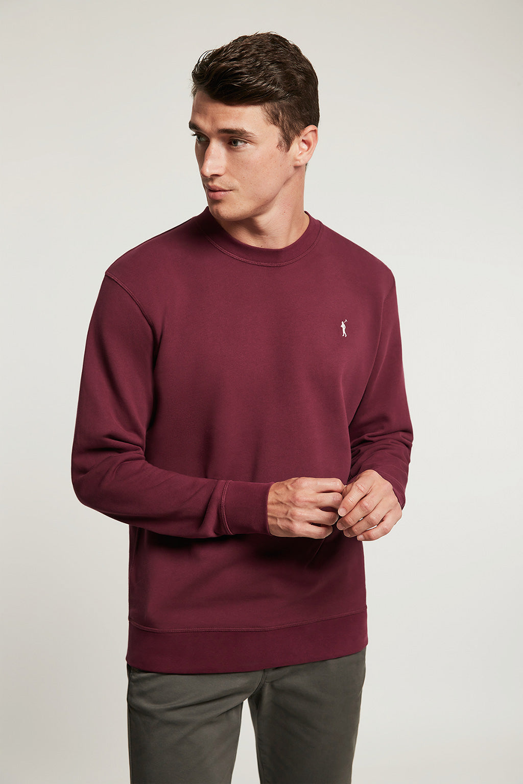Burgundy organic sweatshirt with contrast embroidery