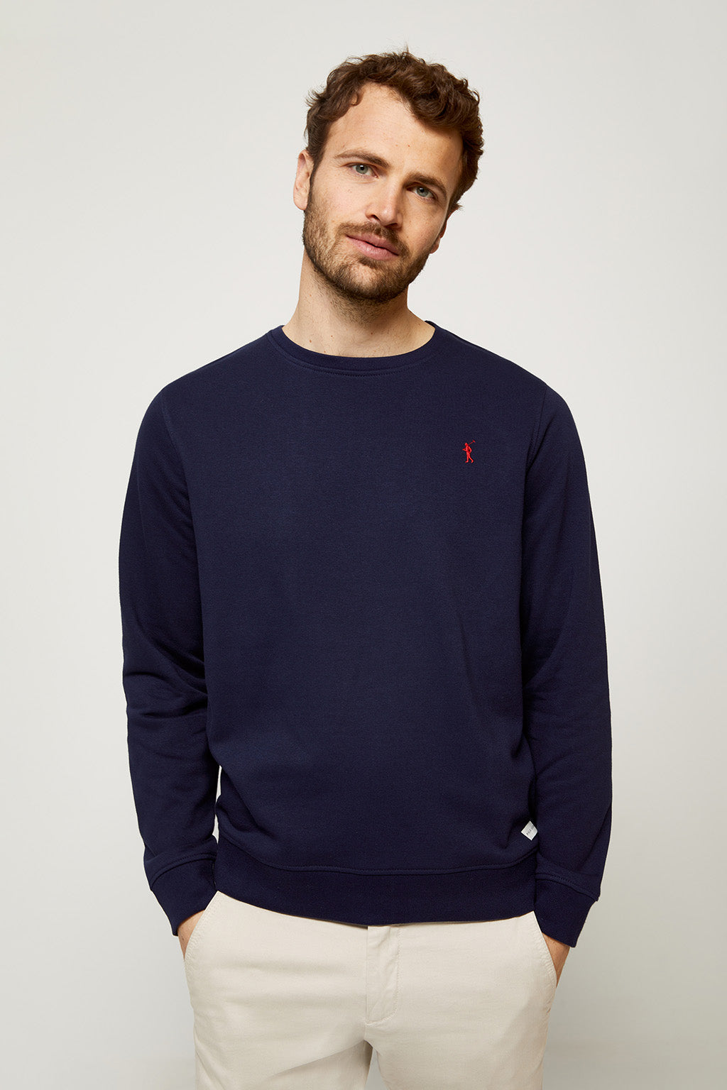 Navy blue round neck organic sweatshirt