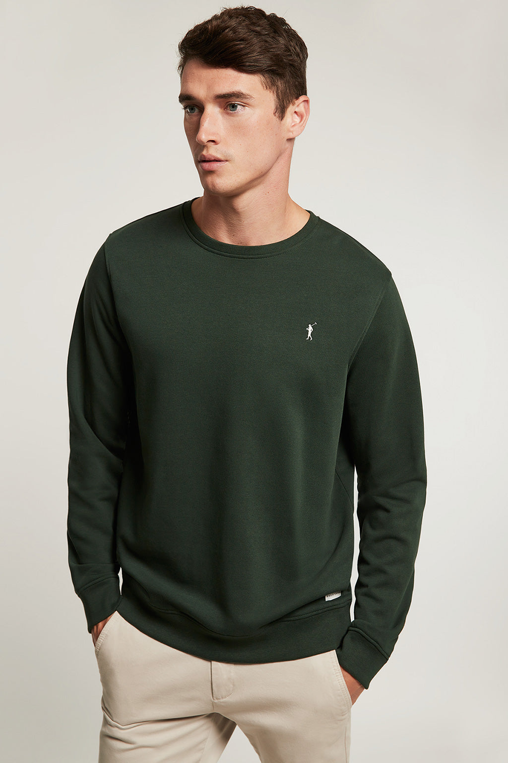 Forest green round neck organic sweatshirt