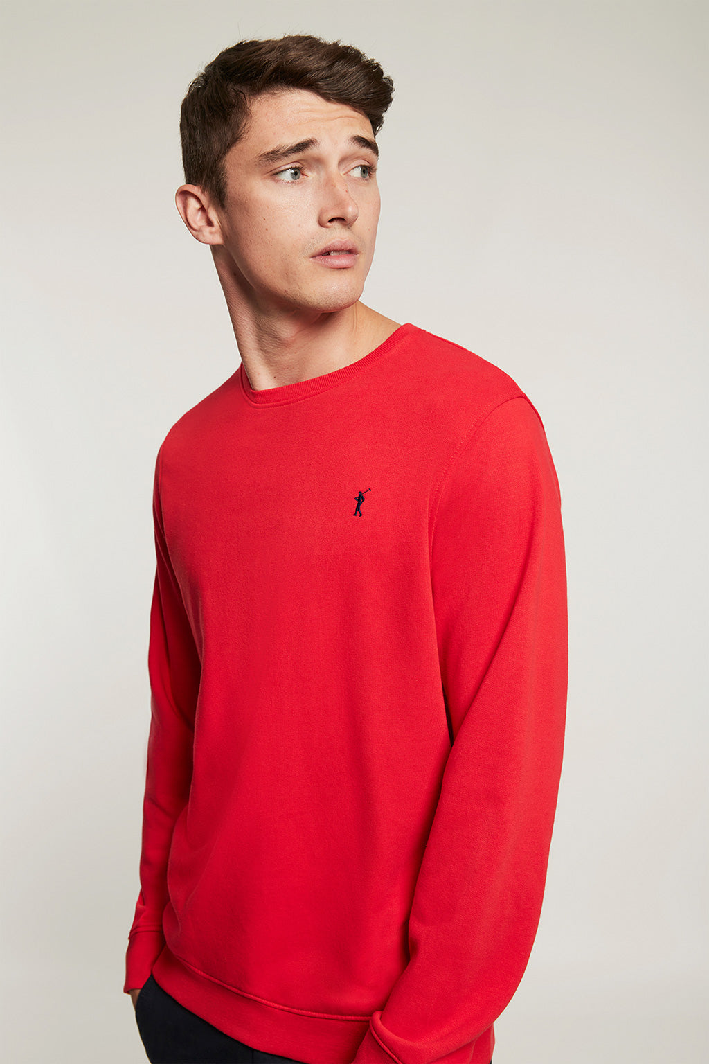 Red round neck organic sweatshirt