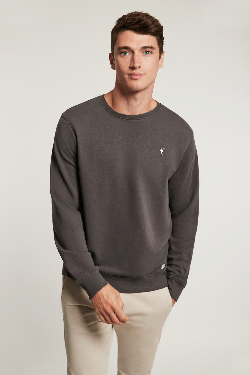Lead grey round neck organic sweatshirt