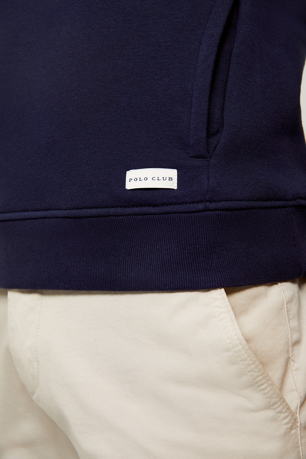 Navy blue organic hooded sweatshirt with front pockets