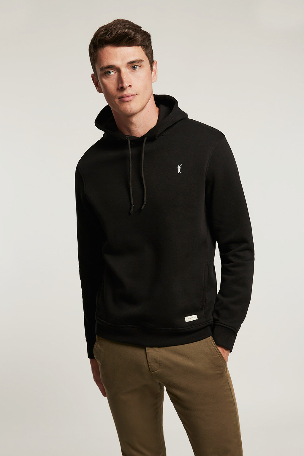 Black organic hooded sweatshirt with front pockets