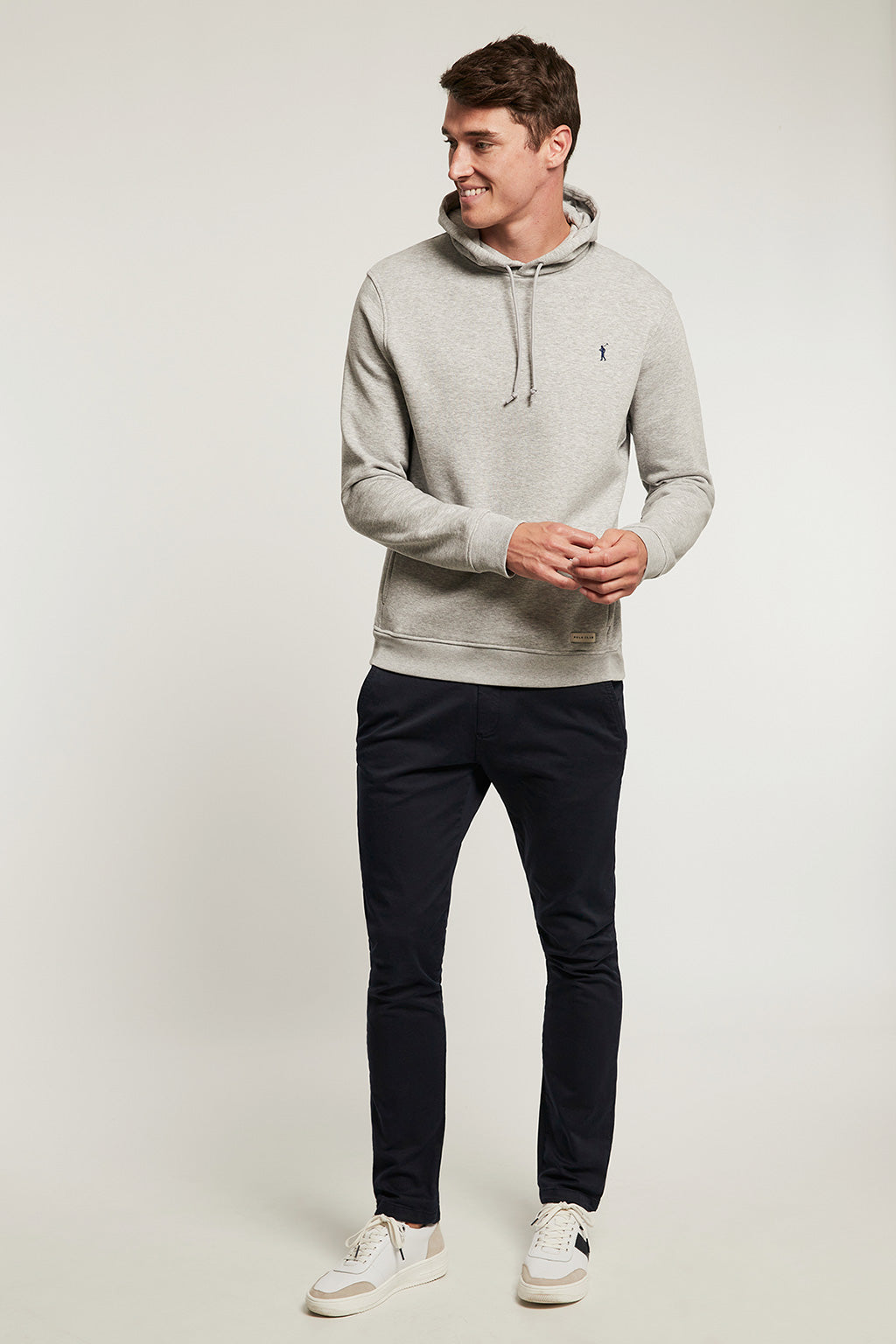 Grey vigore organic hooded sweatshirt with front pockets