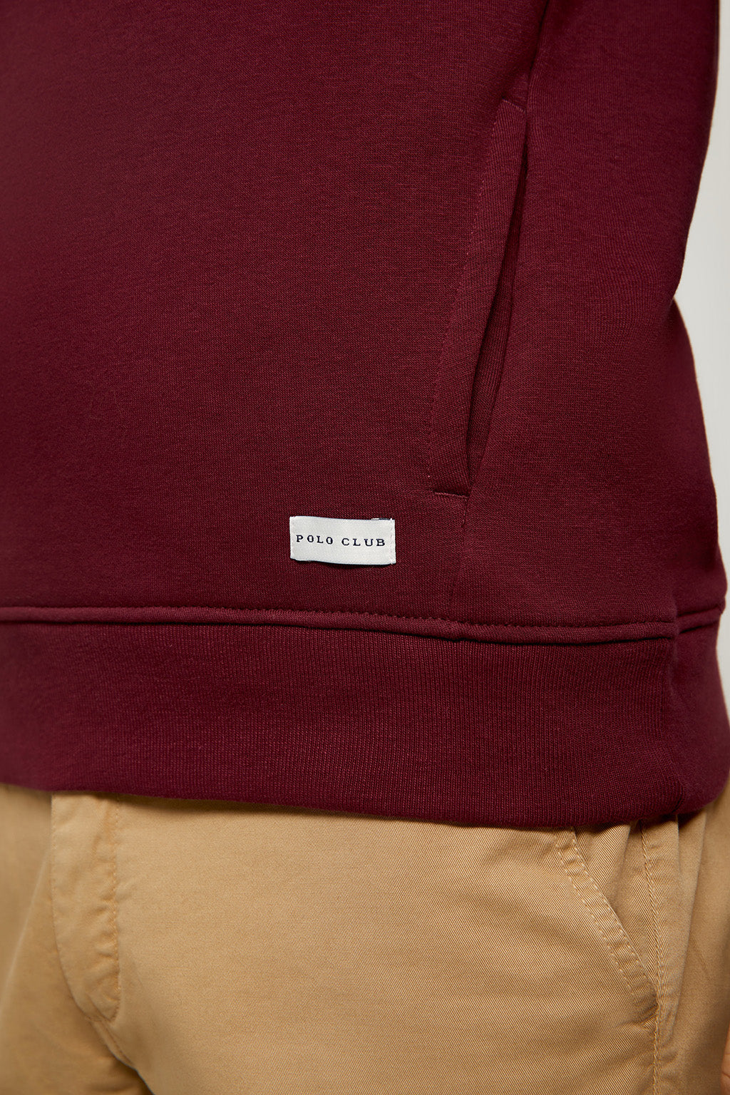 Burgundy organic hooded sweatshirt with front pockets