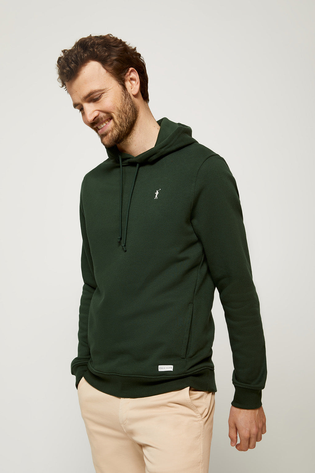 Army green organic hooded sweatshirt with front pockets