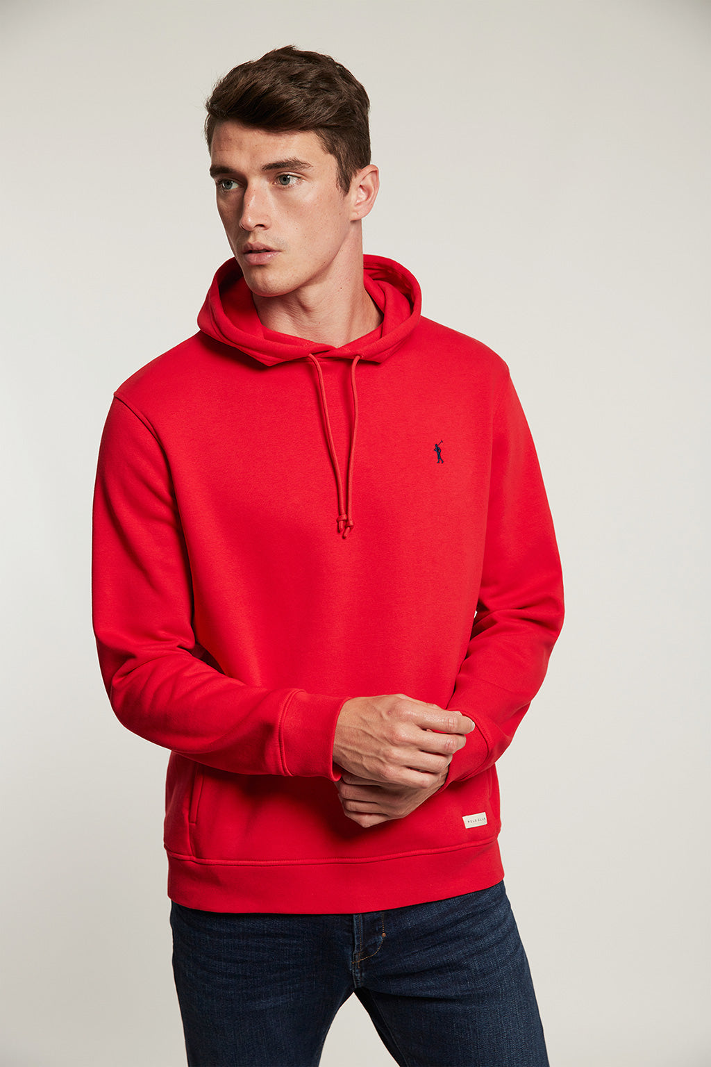 Red organic hooded sweatshirt with front pockets