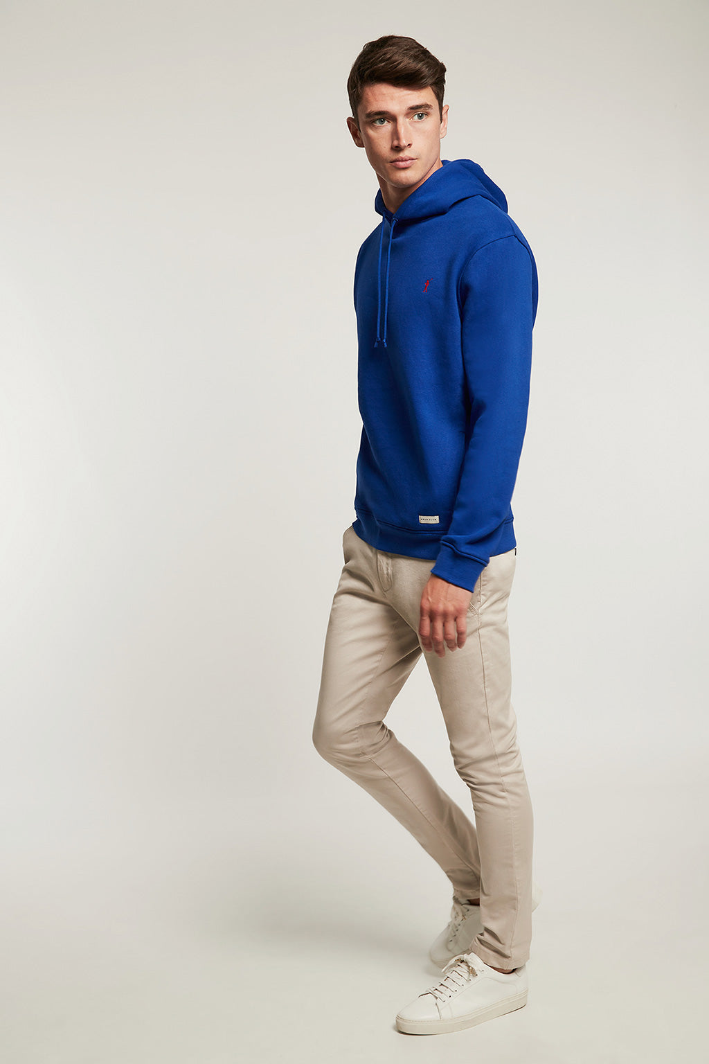 Royal blue organic hooded sweatshirt with front pockets