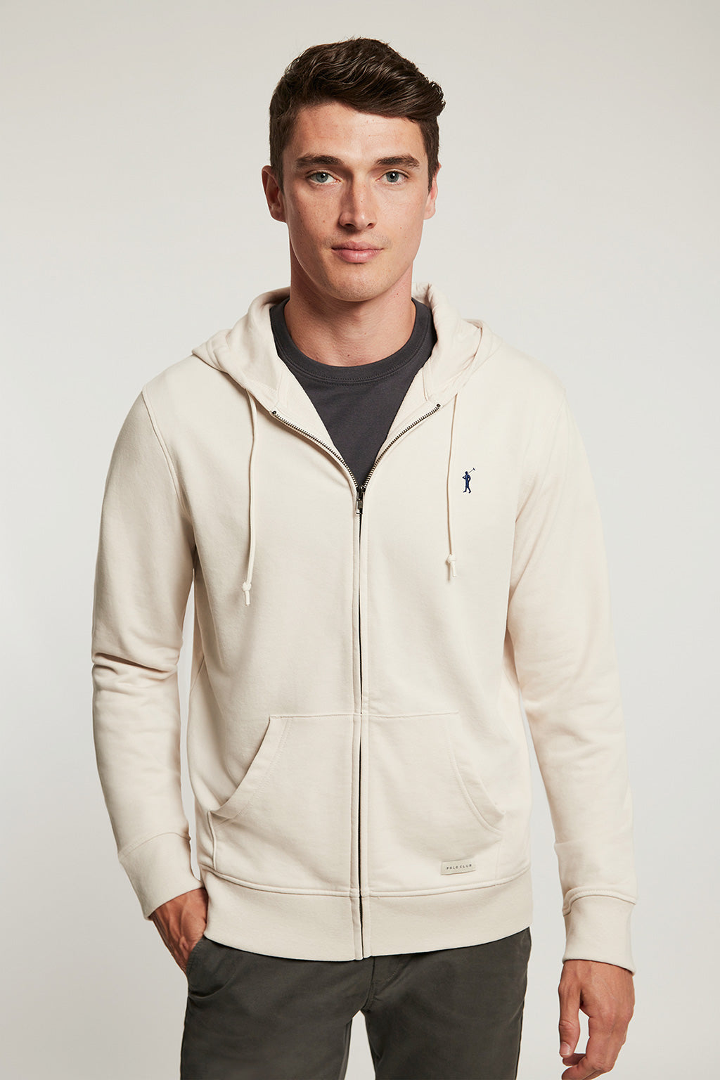 Nude organic sweatshirt with zip closure and contrast embroidery