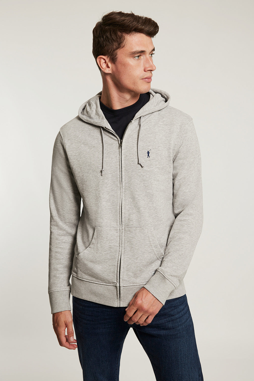 Blue grey organic sweatshirt with zip closure and contrast embroidery