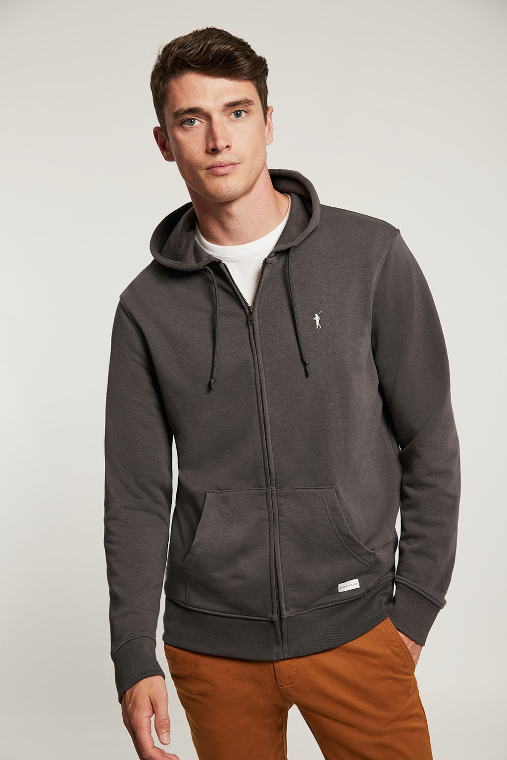 Asphalt grey organic sweatshirt with zip closure and contrast embroidery
