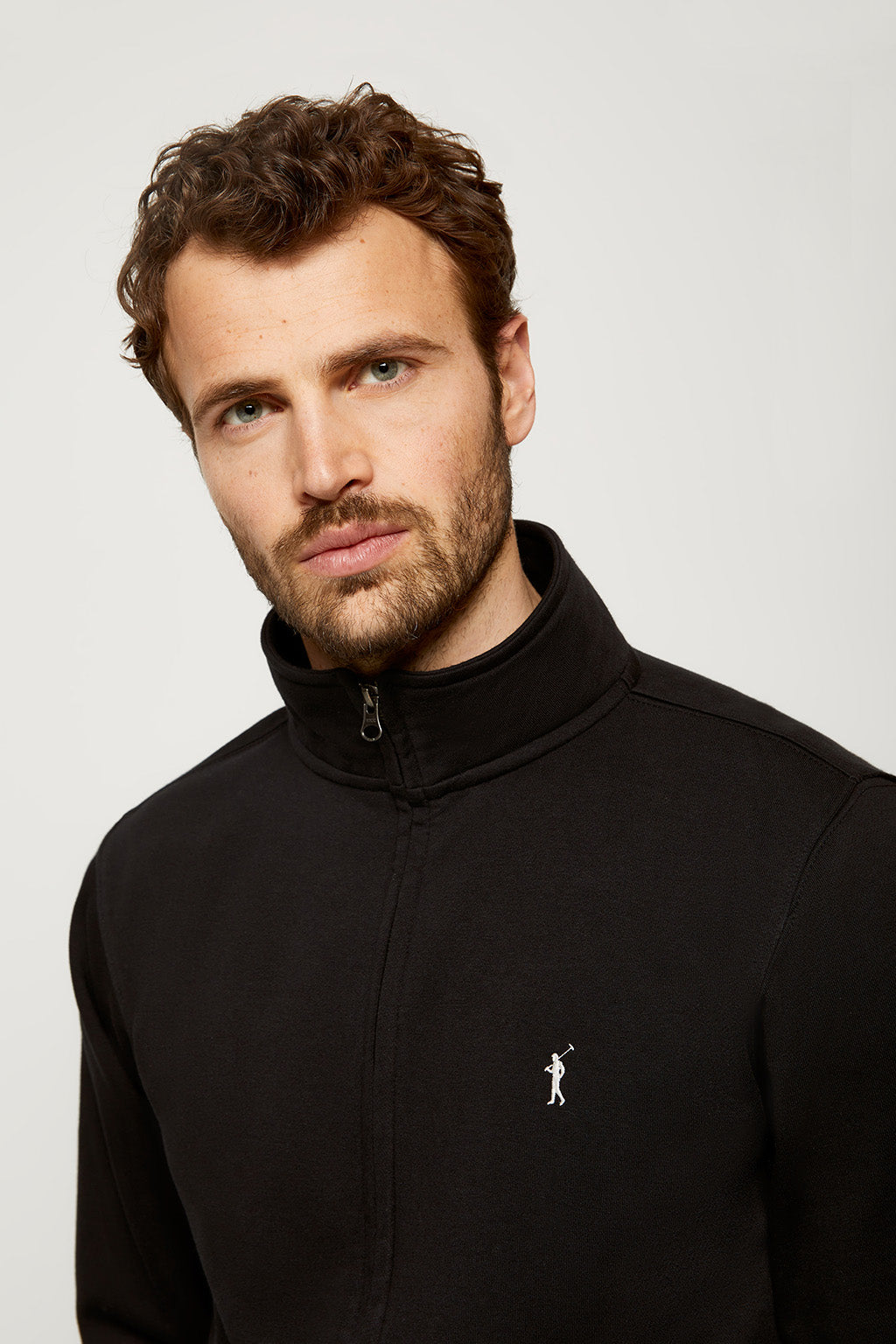 Black zipped sweatshirt with embroidered logo