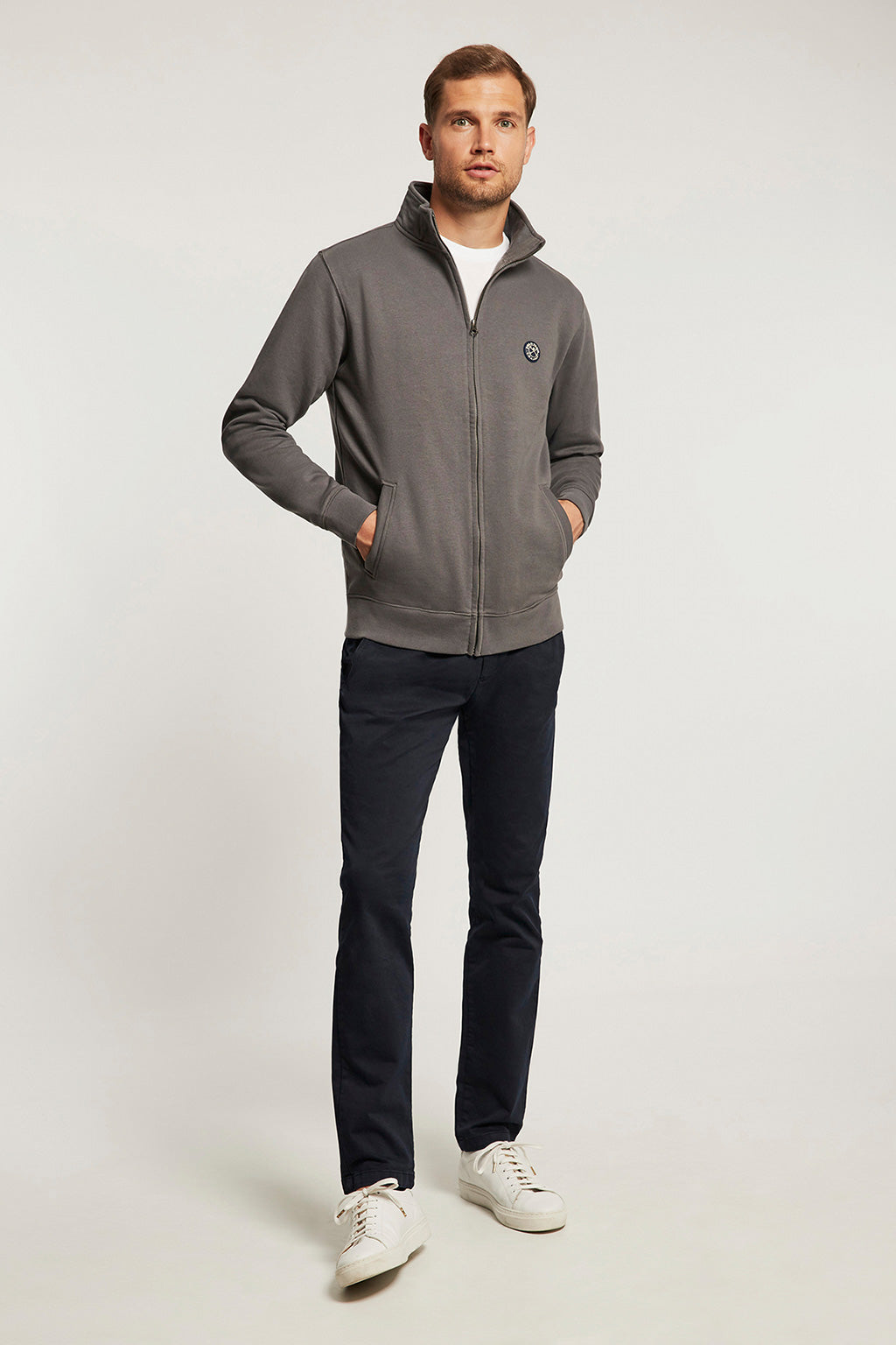 Carbon grey vigore zipped sweatshirt