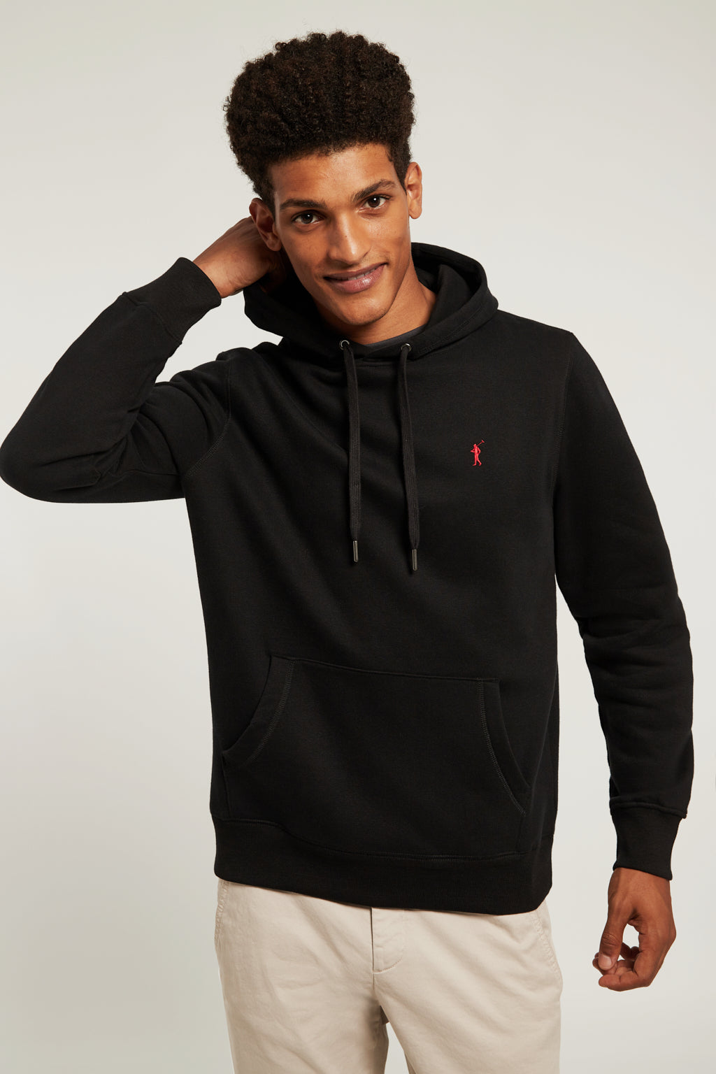 Black hooded sweatshirt with kangaroo pocket