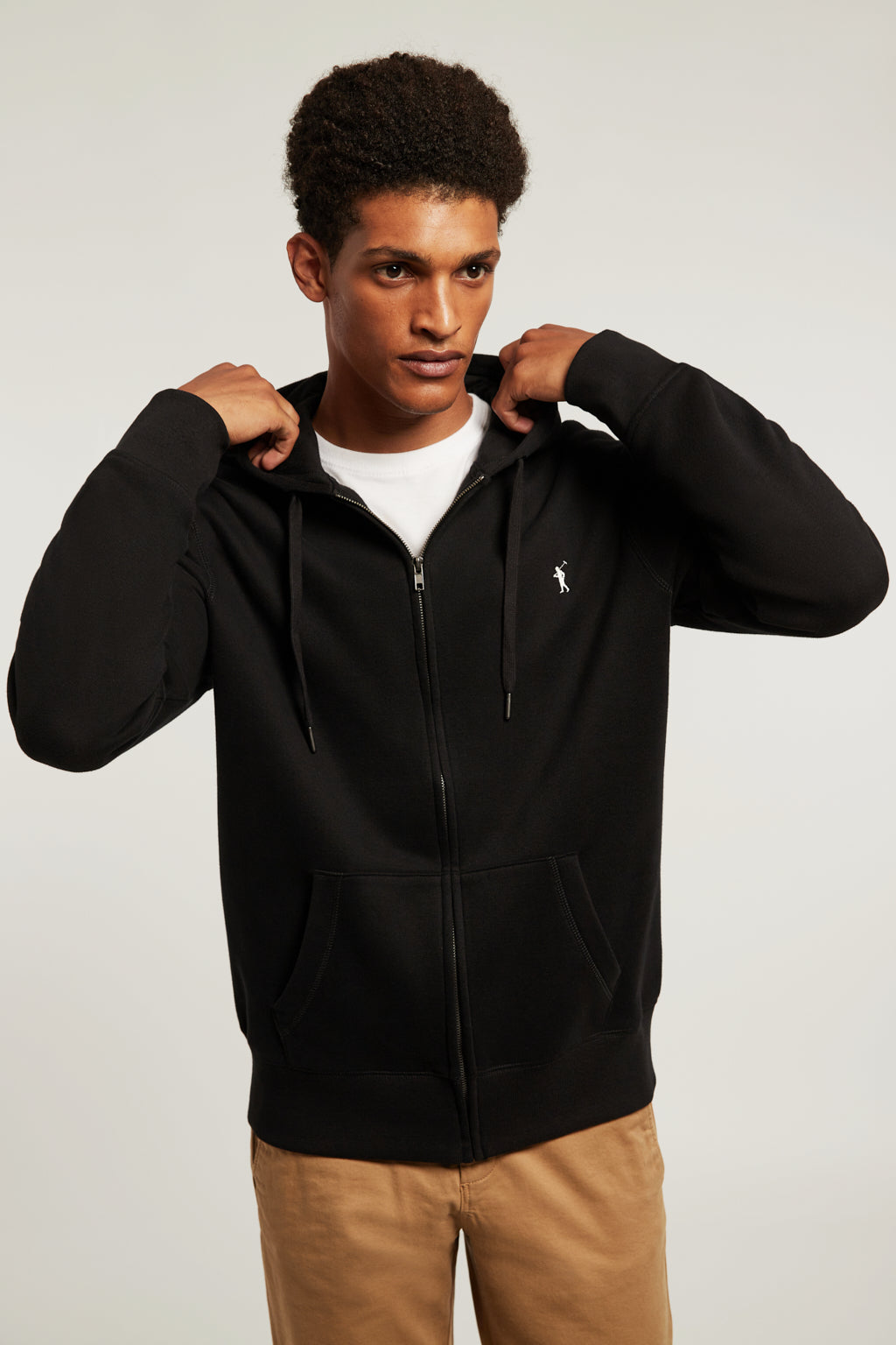 Black sweatshirt with zip closure and kangaroo pocket