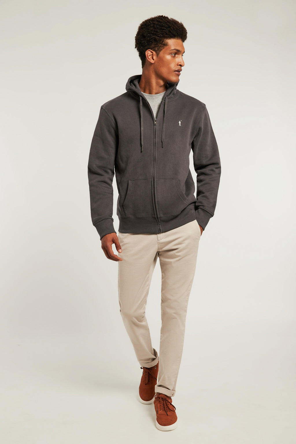 Asphalt grey sweatshirt with zip closure and kangaroo pocket