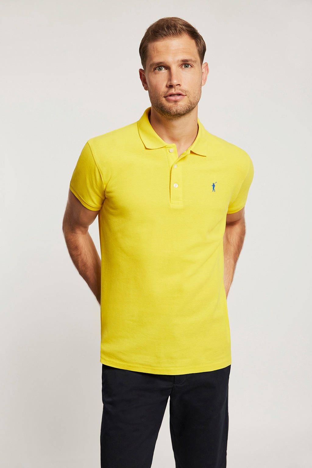 Yellow pique polo shirt