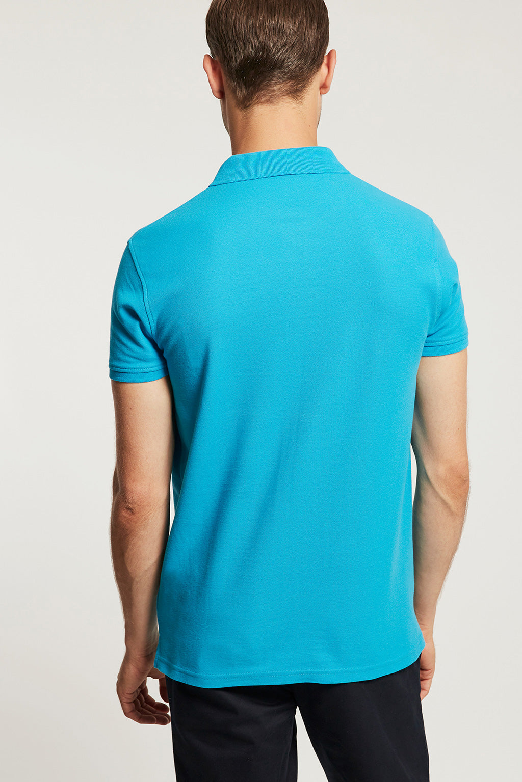 Turquoise pique polo shirt