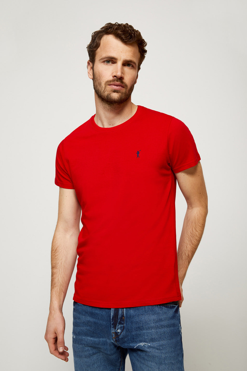 Red T-shirt with embroidered logo