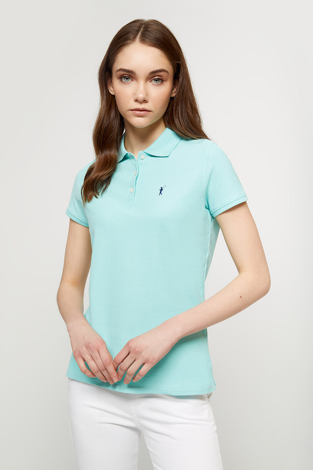 Mint green polo shirt with embroidered logo