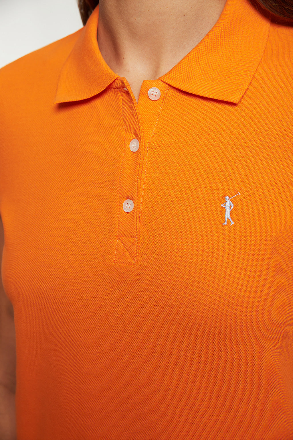 Poloshirt orange mit Logo-Stickerei