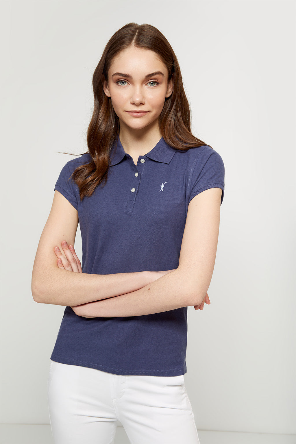 Denim blue polo shirt with embroidered logo