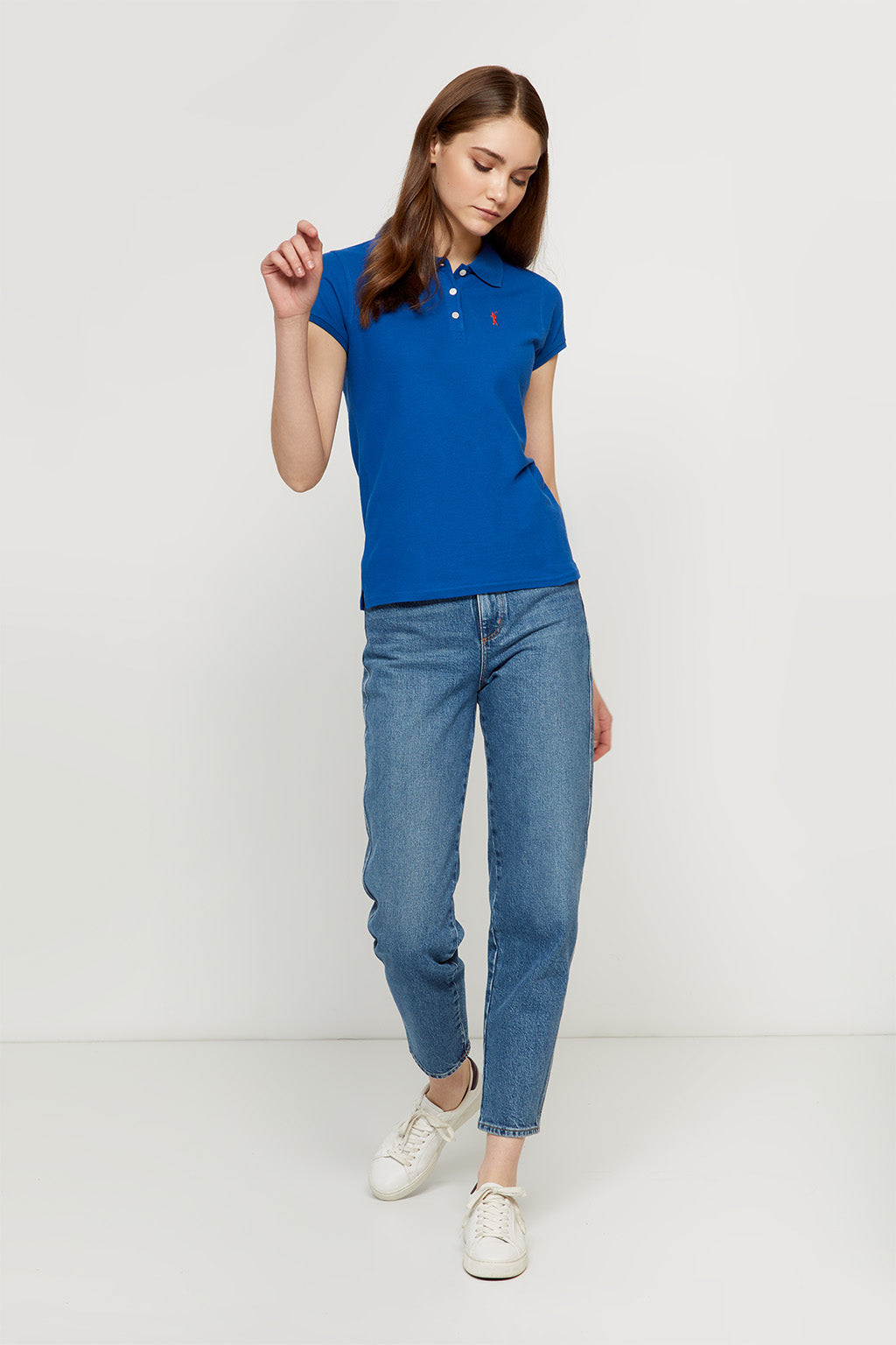 Royal blue polo shirt with embroidered logo