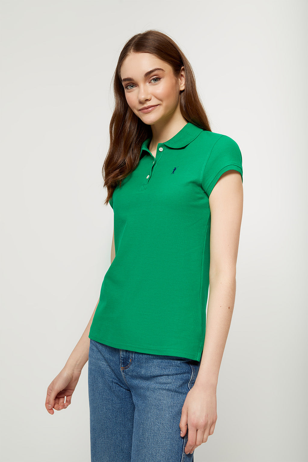 Tropical green polo shirt with embroidered logo