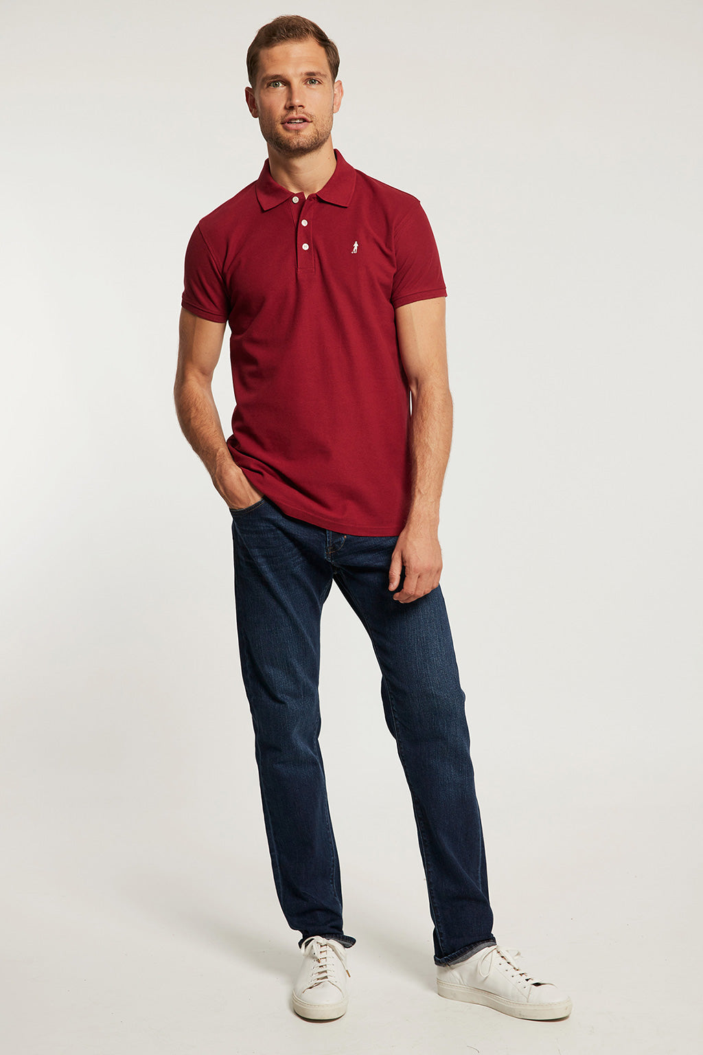 Maroon polo shirt with embroidery
