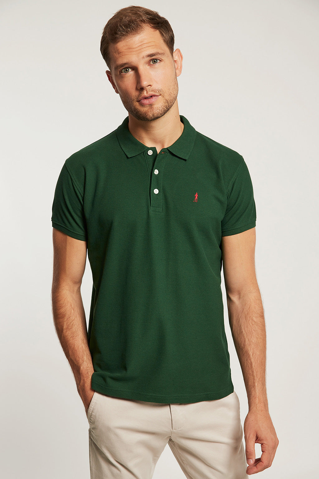 Bottle green polo shirt with embroidery