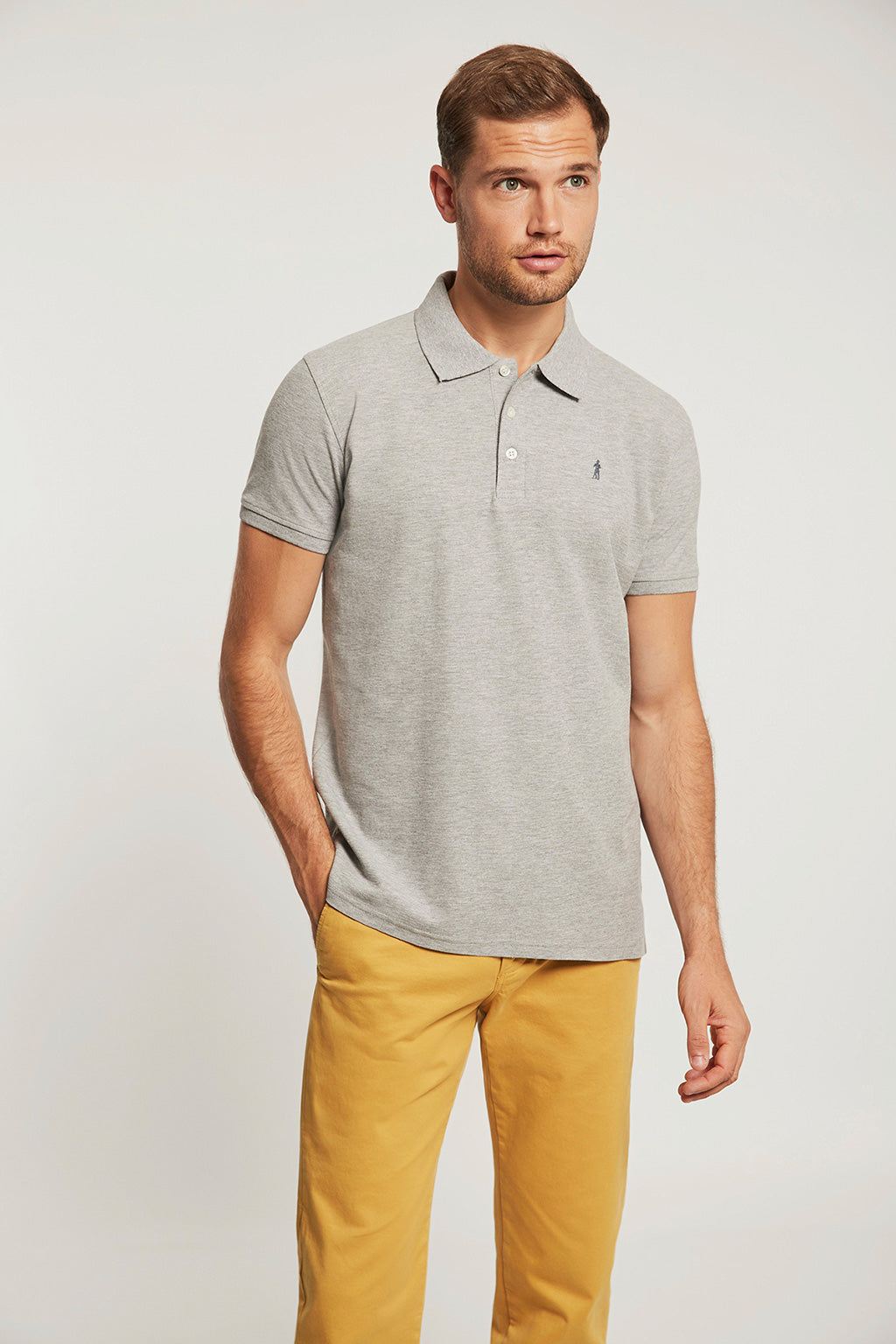 Grey vigore polo shirt with embroidery