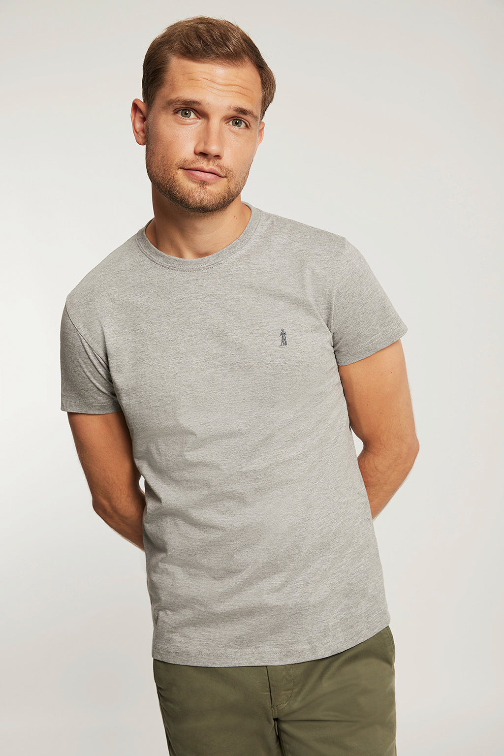 Regular fit grey vigore tee with embroidery