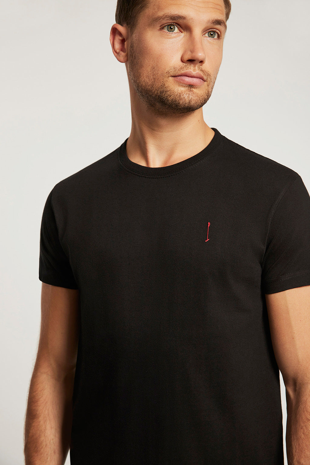 Black cotton tee with embroidered logo