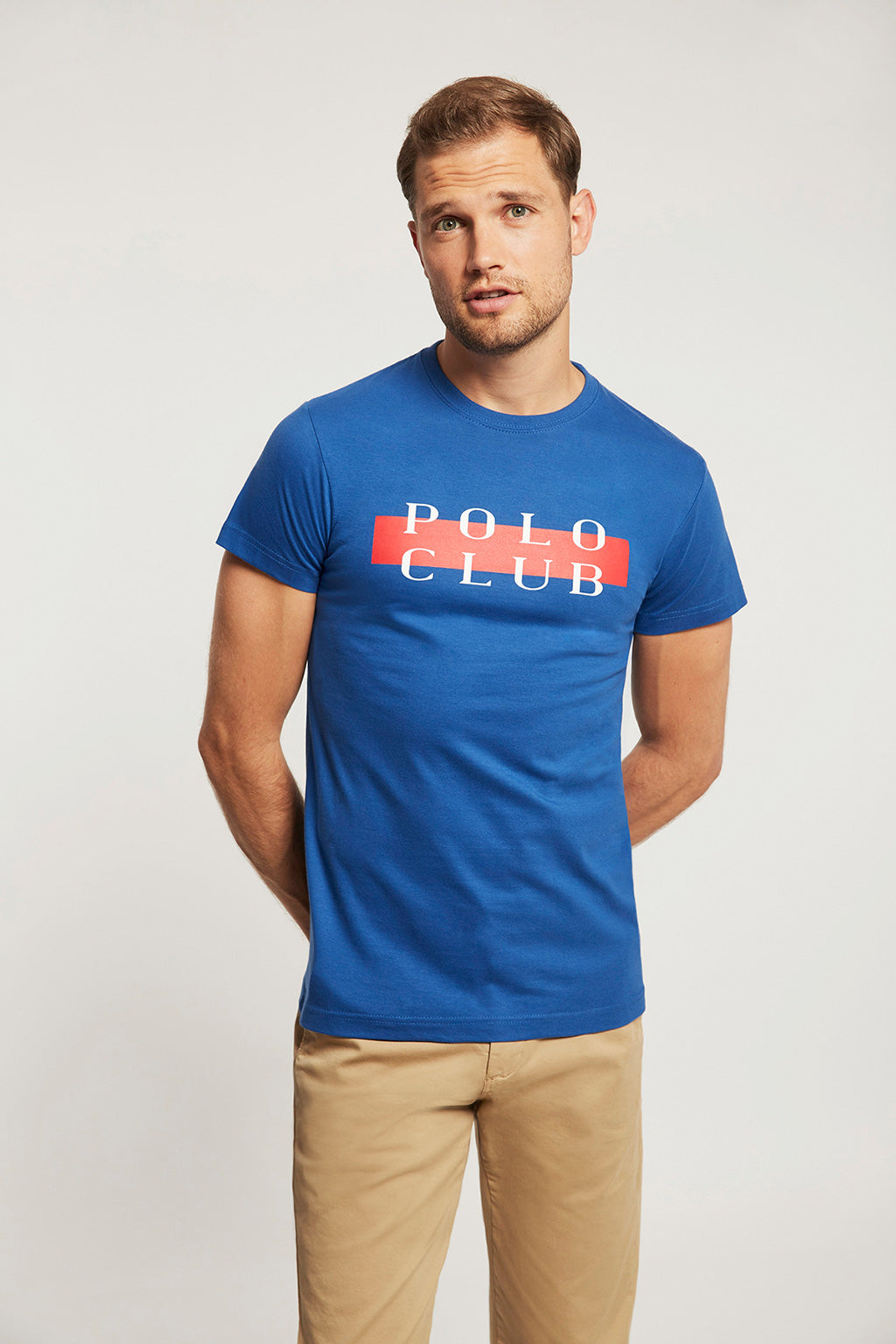 Blue tee with POLO CLUB print