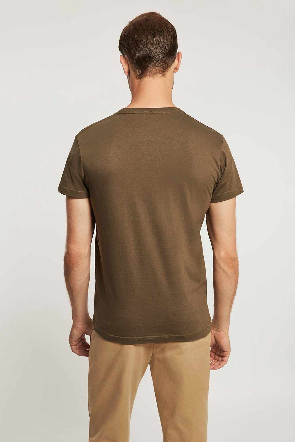 Khaki T-shirt with bi-coloured print