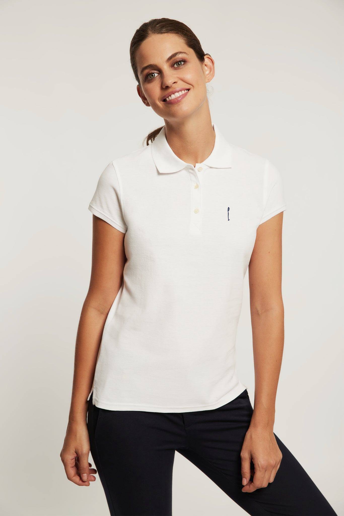 Custom fit white polo shirt with embroidery