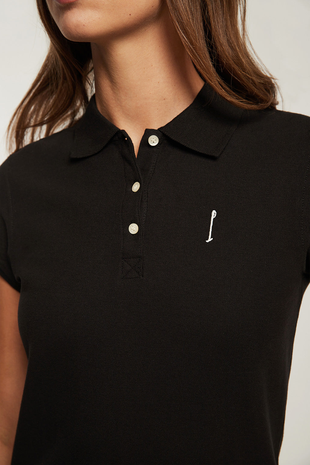 Custom fit black polo shirt with embroidery