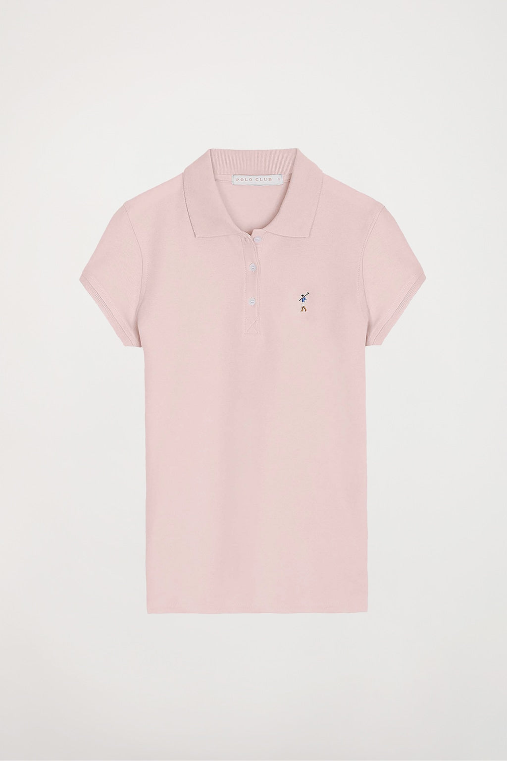 Pink polo shirt with colour embroidered logo
