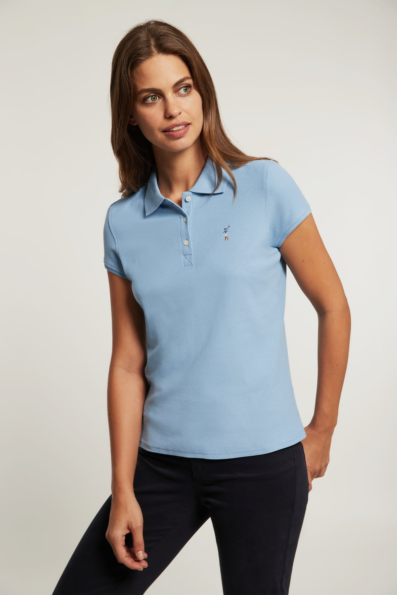 Sky blue polo shirt with colour embroidered logo