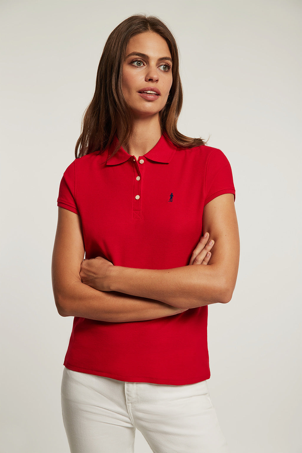 Red polo shirt with embroidery
