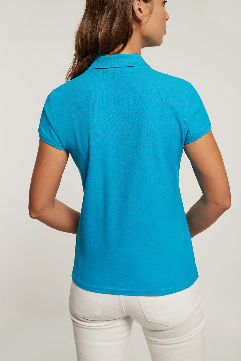 Turquoise polo shirt with embroidery
