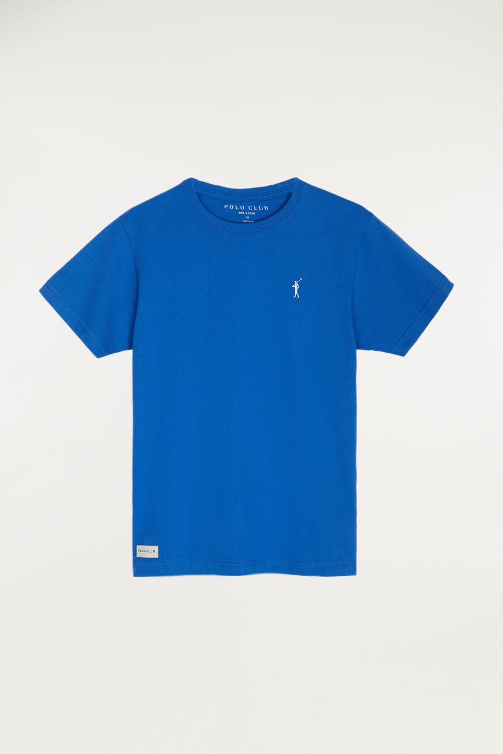 Royal blue tee with small embroidered logo