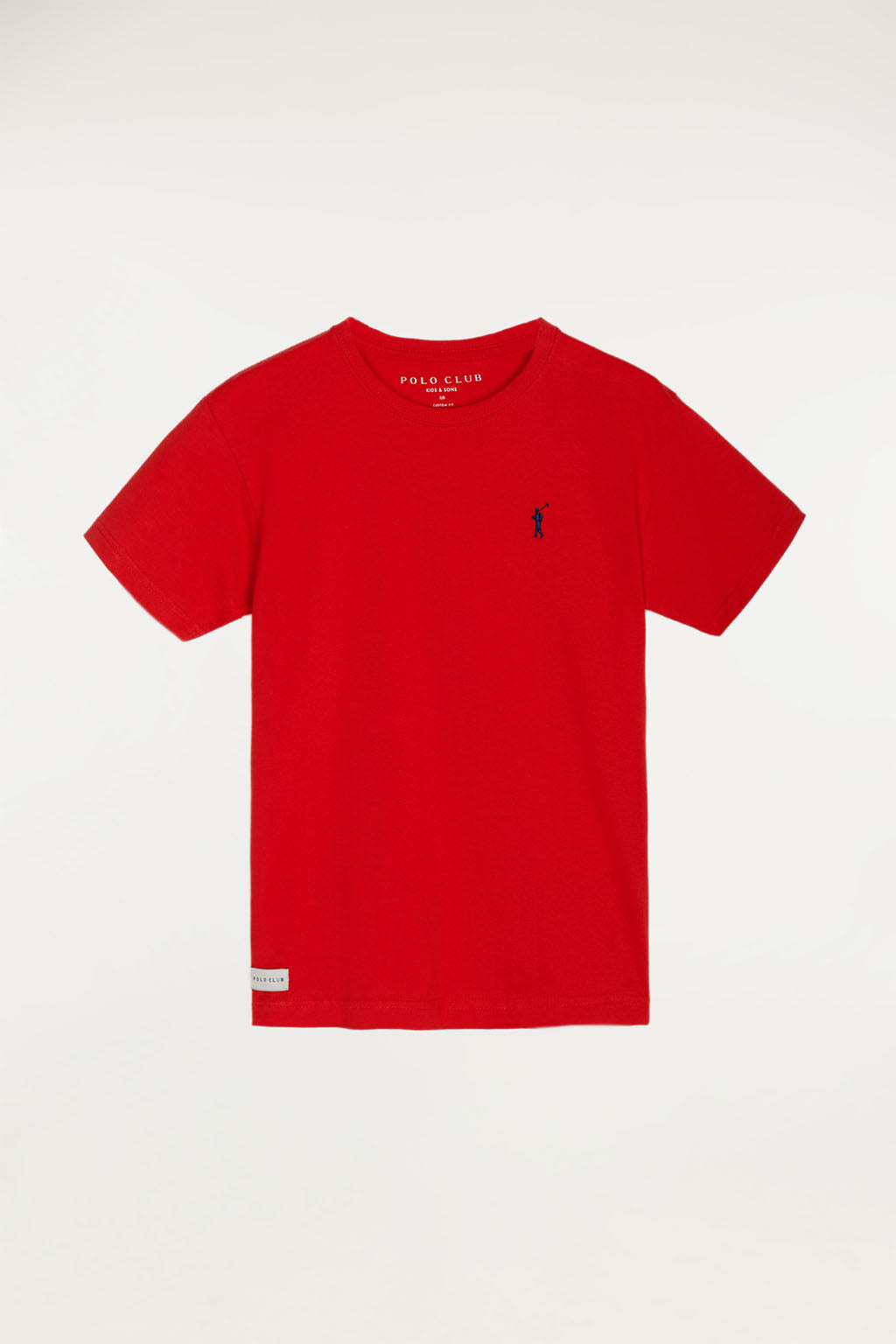 Red tee with small embroidered logo